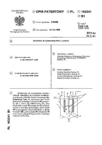 Elektrolizer do wytwarzania chloru z solanek