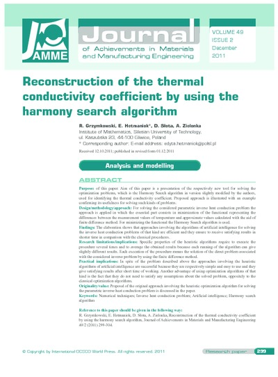 Reconstruction of the thermal conductivity coefficient by using the harmony search algorithm