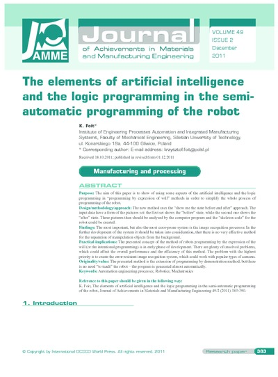 The elements of artificial intelligence and the logic programming in the semi-automatic programming of the robot