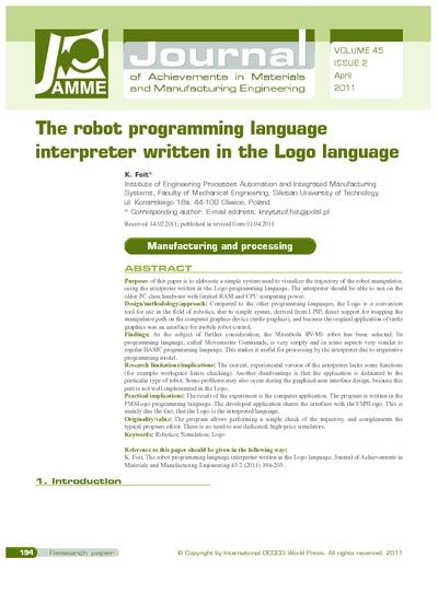 The robot programming language interpreter written in the Logo language