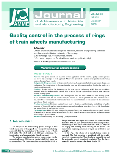 Quality control in the process of rings of train wheels manufacturing