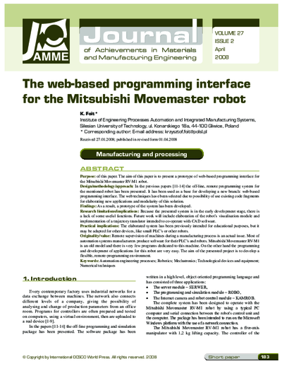 The web-based programming interface for the Mitsubishi Movemaster robot