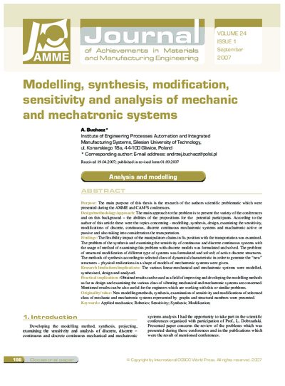 Modelling, synthesis, modification, sensitivity and analysis of mechanic and mechatronic systems