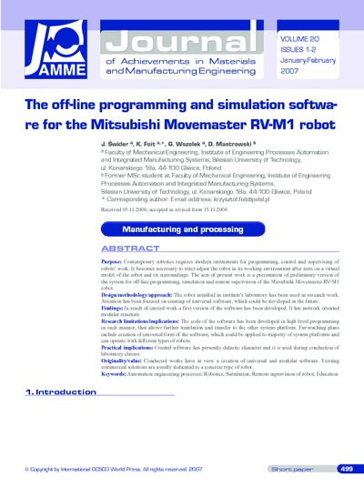 The off-line programming and simulation software for the Mitsubishi Movemaster RV-M1 robot