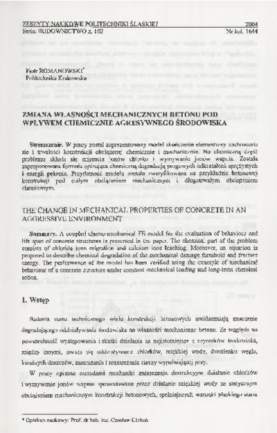 Zmiana własności mechanicznych betonu pod wpływem chemicznie agresywnego środowiska