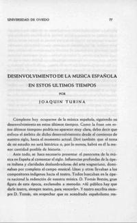 Desenvolvimiento de la música española en estos últimos tiempos