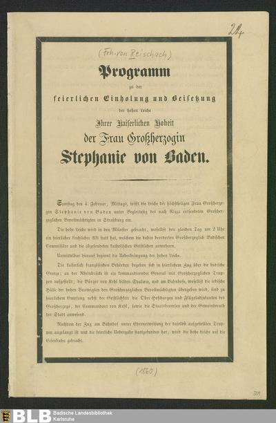 Programm zu der feierlichen Einholung und Beisetzung der ... Frau Großherzogin Stephanie von Baden