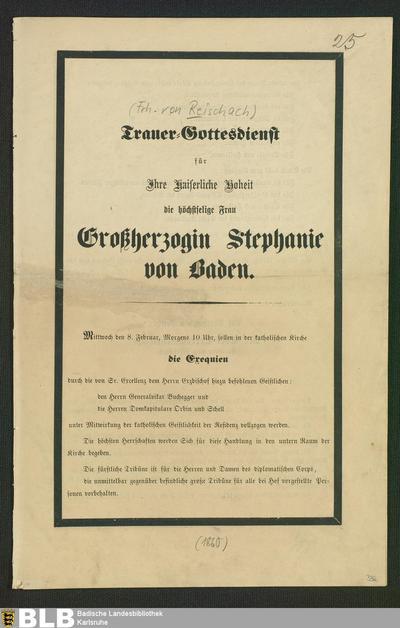 Trauer-Gottesdienst für Ihre Kaiserliche Hoheit ... Großherzogin Stephanie von Baden