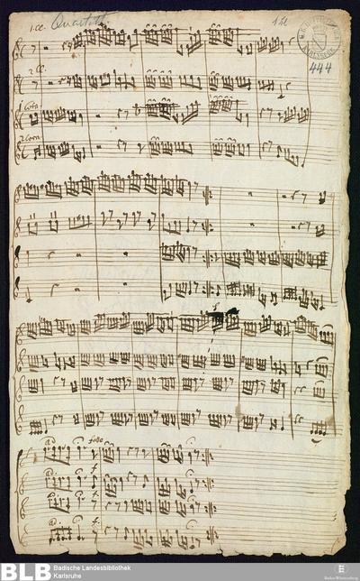 Quartets - Mus. Hs. 444 : clno (2), cor (2)