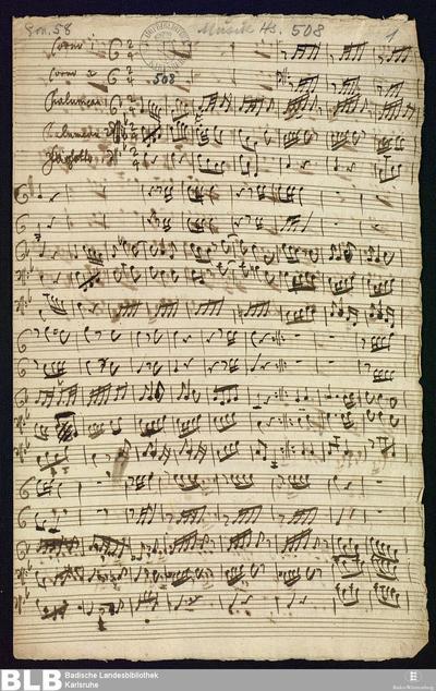 Concertino - Mus. Hs. 508 : cor (2), chalumeau (2), fag ; F ; BrinzingMWV 8.9