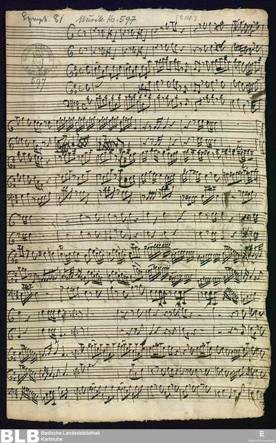 Concertino - Mus. Hs. 597 : fl (2), cor (2), b ; D ; BrinzingMWV 8.14