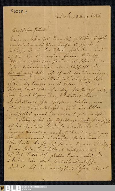 Brief von Joseph von Auffenberg an den Hofrat Carl Gottlieb Theodor Winkler (Pseudonym: Theodor Hell) in Dresden vom 28.03.1828 - K 3208,2