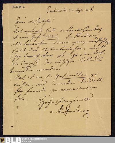 Brief von Joseph von Auffenberg an einen unbekannten Herrn vom 20.09.1846 - K 3208,4