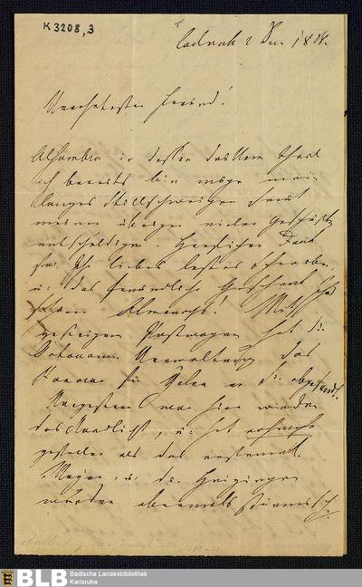 Brief von Joseph von Auffenberg an den Hofrat Carl Gottlieb Theodor Winkler (Pseudonym: Theodor Hell) in Dresden vom 02.12.1828 - K 3208,3
