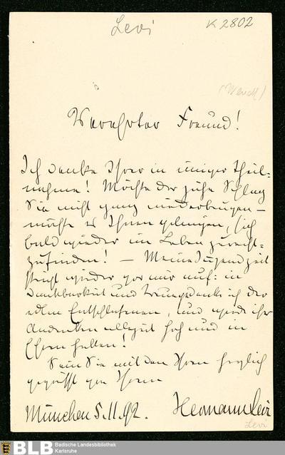 Brief von Hermann Levi an Gustav Wendt vom 05.11.1892 - K 2802