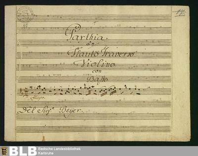 Partitas - Mus. Hs. 45 : fl, vl, b ; C ; GroT 3796-C
