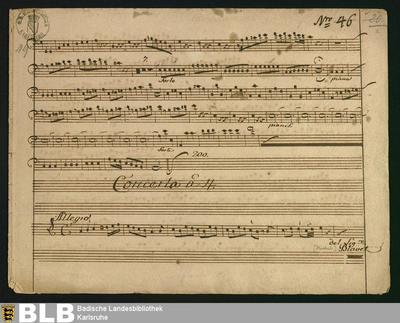 Concertos - Mus. Hs. 49 : fl, vl (2), vlc ; a ; GroF 710