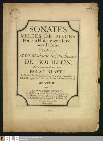 Sonates melées de pieces : pour la flûte-traversiere, avec la baße ; oeuvre IIe; Sonaten, Fl Bc, op. 2