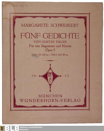 [Heft 1] - Mus. Hs. 1418,18 (Fünf Gedichte von Gustav Falke, 1)