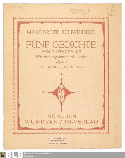 [Heft 2] - Mus. Hs. 1418,22 (Fünf Gedichte von Gustav Falke, 2)