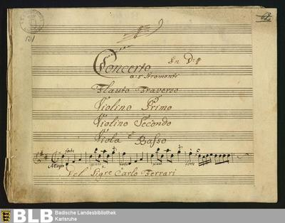 Concertos - Mus. Hs. 131 : fl, vl (2), a-vla, b ; D ; GroF 23
