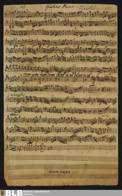 Symphonies - Mus. Hs. 135 : vl (2), vla, b ; D