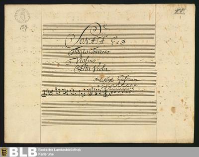 Sonatas - Mus. Hs. 159 : fl, vl, vla ; D ; HilG 384 GroT 3339-D