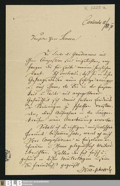Brief von Joseph Victor von Scheffel an Adolf Jensen vom 15.12.1870 - K 3225