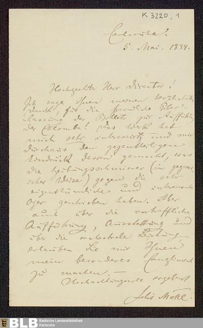 Brief von Felix Mottl an einen Theaterdirektor vom 05.05.1889 - K 3220,1