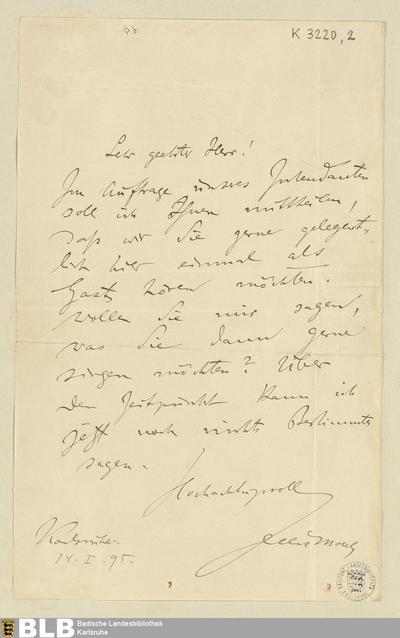 Brief von Felix Mottl an Rudolf Moest vom 14.01.1895 - K 3220,2