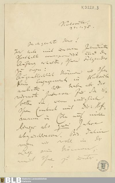 Brief von Felix Mottl an Rudolf Moest vom 24.01.1895 - K 3220,3