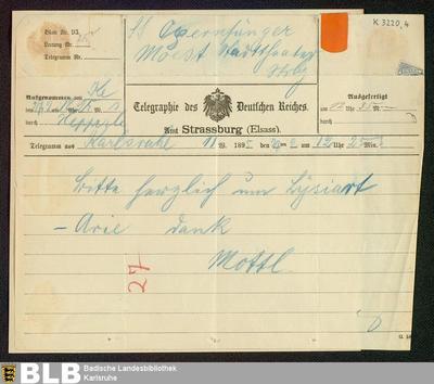 Telegramm von Felix Mottl an Rudolf Moest vom 27.02.1895 - K 3220,4