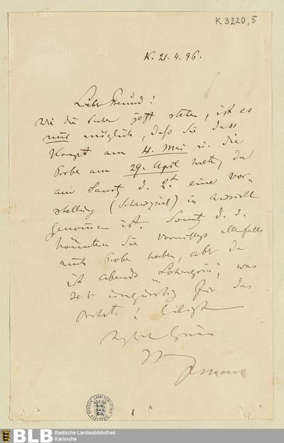 Brief von Felix Mottl an Rudolf Moest vom 21.04.1896 - K 3220,5