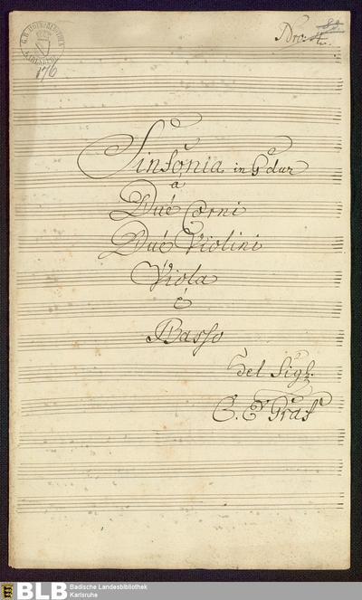 Symphonies - Mus. Hs. 176 : vl (2), vla, cor (2), b ; G