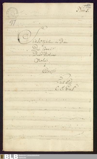 Symphonies - Mus. Hs. 177 : vl (2), vla, cor (2), b ; D