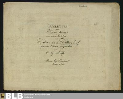 Ouverture aus Hocus pocus : eine comische Oper von Ditters von Dittersdorf; Hokus Pokus <Ouvertüre> / Arr.