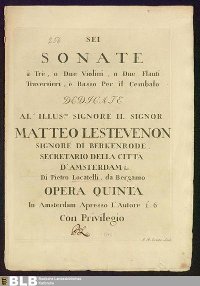 Sei Sonate à Trè, o Due Violini, o Due Flauti Traversieri, è Basso Per il Cembalo : Opera Quinta; Sonaten, Vl 1 2 Bc, op. 5