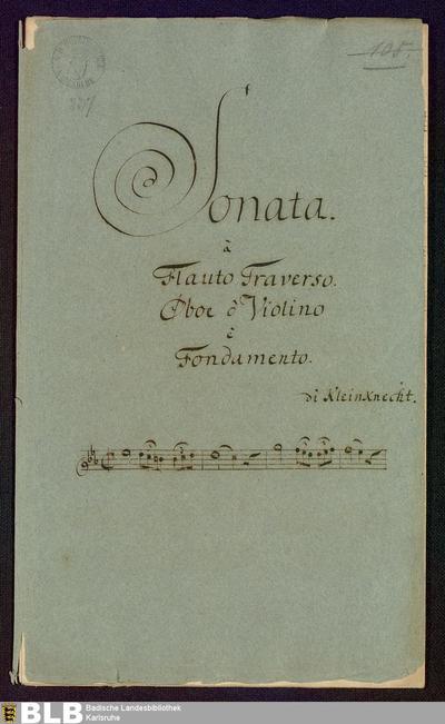Sonatas - Mus. Hs. 237 : fl, ob, bc ; c ; Krause-PichlerK 1991 p.167 DelK p.313 GroT 3853-c