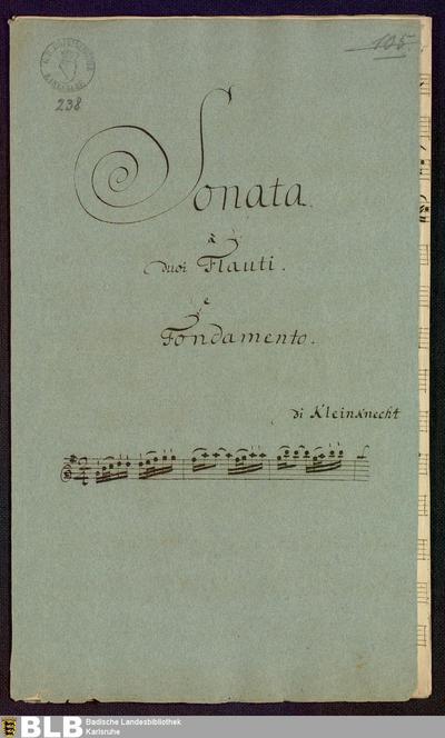 Sonatas - Mus. Hs. 238 : fl (2), bc ; G ; Krause-PichlerK 1991 p.164 DelK p.282 GroT 3394-G