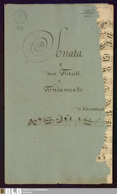 Sonatas - Mus. Hs. 239 : fl (2), bc ; D ; Krause-PichlerK 1991 p.164-165 DelK p.284 GroT 3385-D