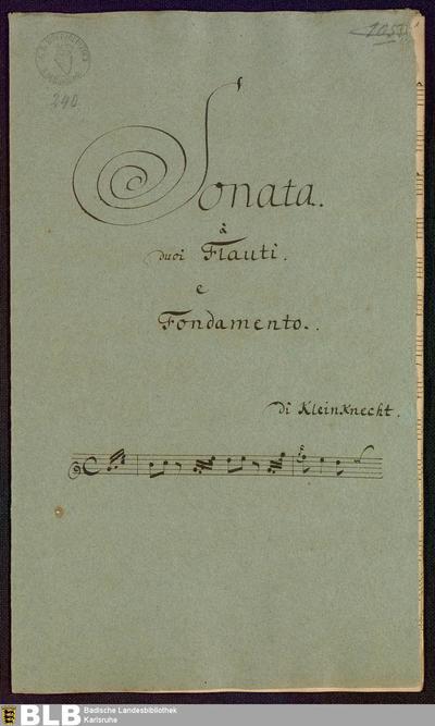 Sonatas - Mus. Hs. 240 : fl (2), bc ; C ; Krause-PichlerK 1991 p.165 DelK p.283 GroT 3380-C