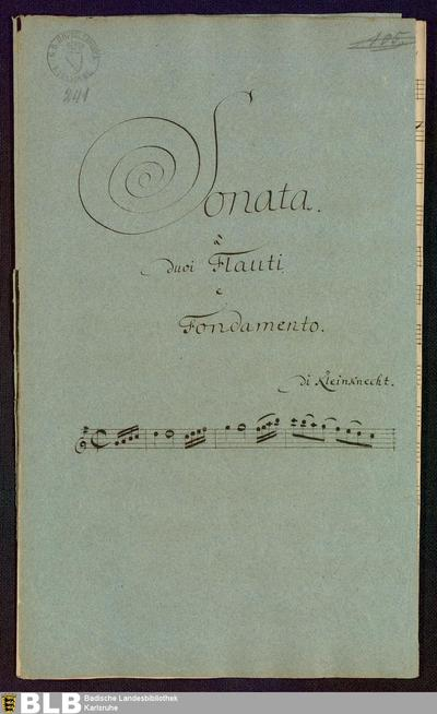 Sonatas - Mus. Hs. 241 : fl (2), bc ; G ; Krause-PichlerK 1991 p.166 DelK p.299 GroT 3422-G
