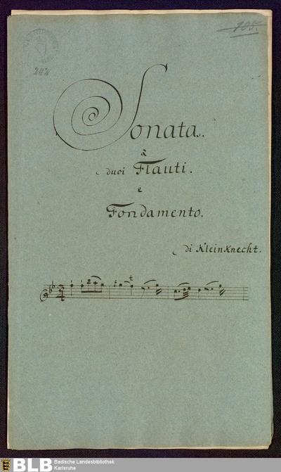 Sonatas - Mus. Hs. 242 : fl (2), bc ; B b ; Krause-PichlerK 1991 p.166-167 DelK p.283 GroT 3400-B