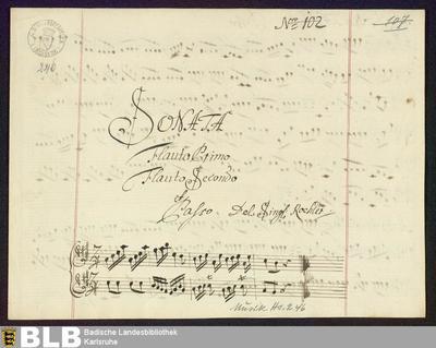 Sonatas - Mus. Hs. 246 : fl (2), b ; A ; Krause-PichlerK 1991 deest DelK 299 GroT 3857-A
