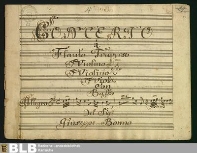 Concertos - Mus. Hs. 62 : fl, strings, b ; G ; GroF 713