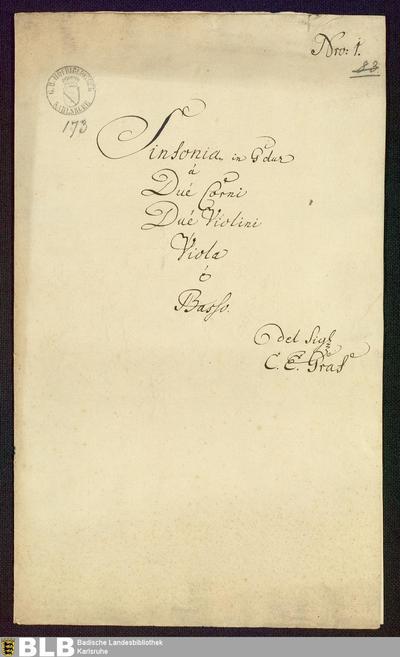 Symphonies - Mus. Hs. 173 : vl (2), vla, cor (2), b ; G ; LaRueS 1988 15368