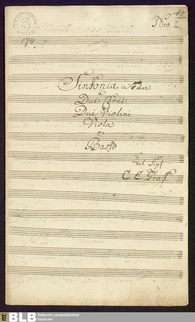 Symphonies - Mus. Hs. 174 : vl (2), vla, cor (2), b ; F