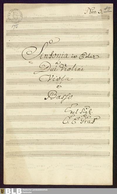 Symphonies - Mus. Hs. 175 : vl (2), vla, b ; E