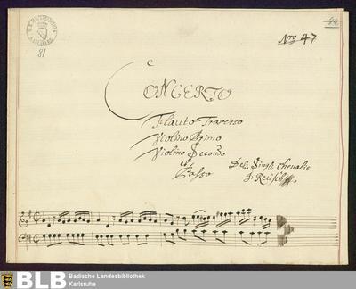 Concertos - Mus. Hs. 81 : fl, vl (2), b ; G ; GroF 719