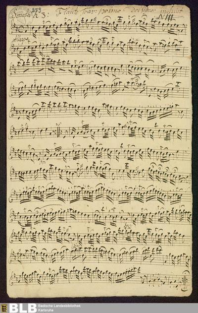 Sonatas - Mus. Hs. 273 : fl (2), bc ; D ; GroT 3862-D
